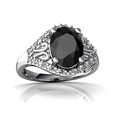 14kt White Gold Black Onyx and Diamond 9x7mm Oval Antique Style Ring - Size 5.5