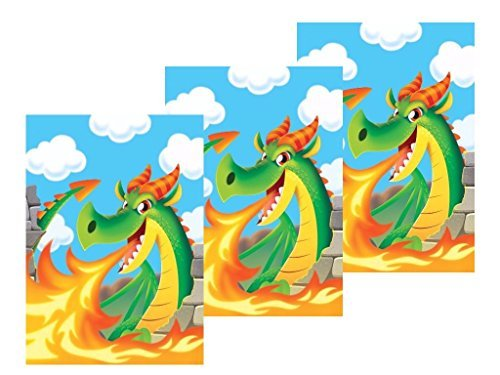 Creative Converting Inc.., Fire Breathing Dragons Birthday Party Supplies Pack Favor Bags for 24 Guests ()