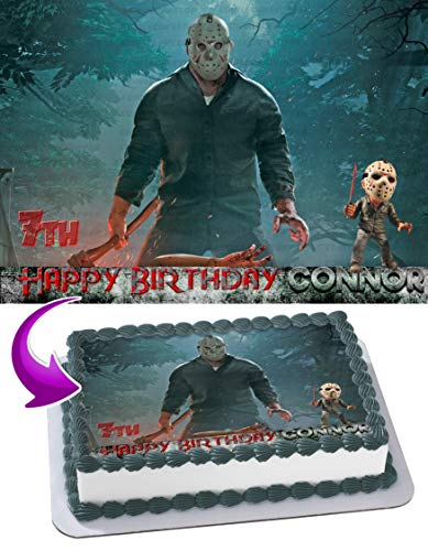Jason Voorhees Edible Cake Image Topper Personalized Birthday 1/4 Sheet Custom Sheet Party Birthday Sugar Frosting Transfer Fondant Image ~ Best Quality Edible Image for cake ()
