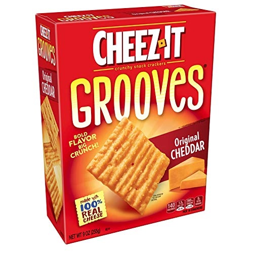 CheezIt Original Cheddar Grooves Crispy Cheese Cracker Chips, 9 Ounce(Pack of 12)