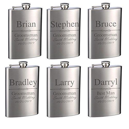 Top Shelf Flasks Personalized Custom Engraved 8oz Stainless Steel Groomsman Gift Flasks for Weddings, True Metal Etching Lasts a Lifetime, Set of 6 ()