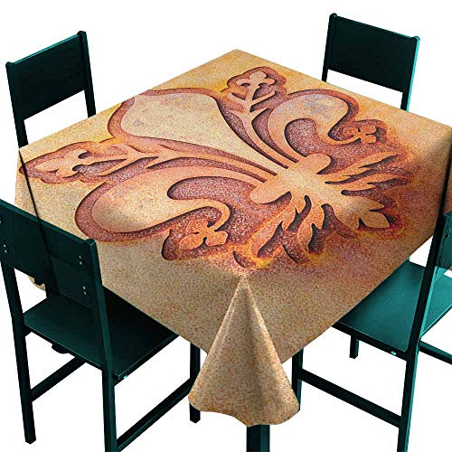 (Sunnyhome Stain Resistant Square Tablecloth Fleur De Lis Lily Flower Symbol on Plate Floral Design Royal Arms France Sign Cultural Print Dinner Picnic Table Cloth Home Decoration 70x70 Inch Orange)