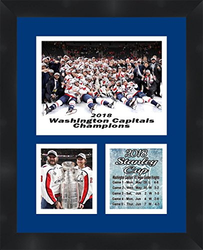 (Washington Capitals 2018 Stanley Cup Champions Alex Ovechkin and Nicklas Backstrom Framed 11 x 14 Matted Collage Framed Photos Ready to hang)