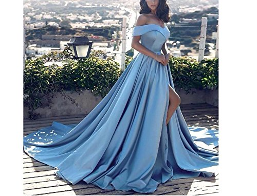 Prom Gown Princess Dress Satin Yellow Shoulder Wedding Amore Slit Vintage Evening Bridal Off PqEwxqAv6