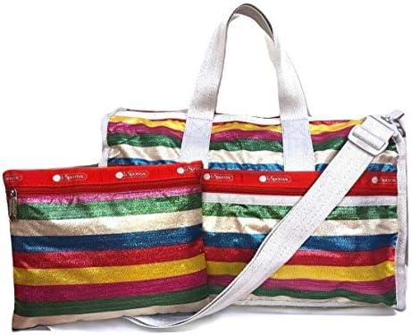 LeSportsac Ribbon Candy Medium Weekender Crossbody Bag Cosmetic Bag, Style 7184 Color F005 Metallic Iridescent Glitter