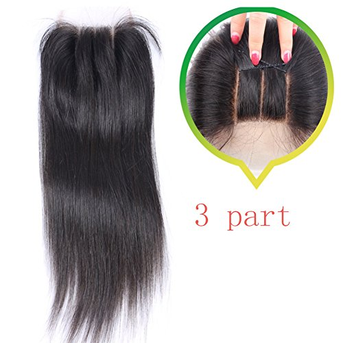 Youth Beauty Human Hair Silky Straight 3 Way Part Lace Closure(44) with Baby Hair Bleached Knots Swiss Lace Top Closure Natural Color 14