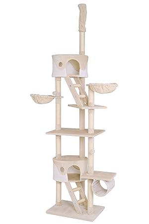 Dibea KB00404 Árbol Rascador Escalador para Gatos, 240-260 cm, Altura Ajustable del Techo Beige y Blanco: Amazon.es: Productos para mascotas