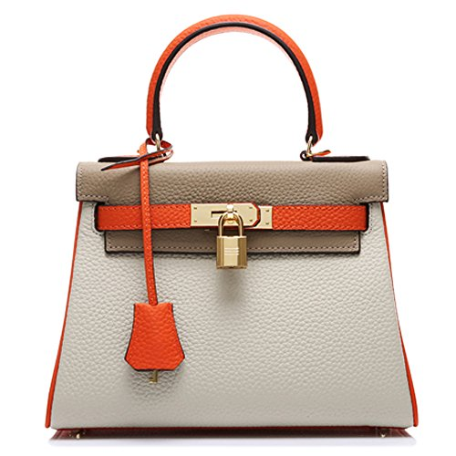 Leather 8030 Macton women's Orange 28CM Grey handbag Genuine MC Grey XxX5qBa