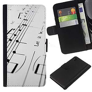Ihec-Tech / Flip PU Cuero Cover Case para Sony Xperia Z4 - Music Notes