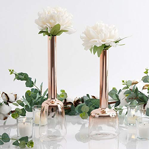 Efavormart Set of 2 | Chrome Rose Gold Heavy Duty Glass Tall Flower Vases Sets of 13