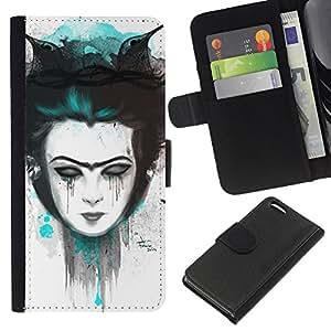 Protector de cuero de la PU de la cubierta del estilo de la carpeta del tirón BY RAYDREAMMM - Apple Iphone 5C - Triste chica Emo
