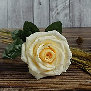 Cream Paper Rose Handmade Realistic Artificial Flowers Unique Gifts for Her, Gifts for Mom, Vintage Rustic Paper Flower for Wedding, Christmas,Valentine, Party, Home Decoration, 01 Single Long Stem 44