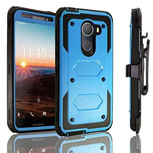Red Vs Blue Wallpaper (Alcatel A30 Fierce 2017 Case,Alcatel A30 Plus Walters Case, Alcatel REVVL Case ,Heavy Duty Shockproof [Kickstand] [Belt Swivel Clip] Dual-Layer Full-Body Armor Rugged Protection Case (Blue))