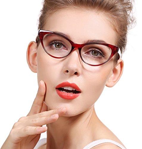 SOOLALA Modern Cat Eye Clear Lens Eye Glasses Frame Reading Glasses for Ladies