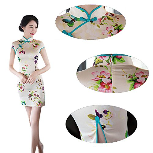 Qipao Hzjundasi Elegante Impreso Floral Seda de Mujer Cheongsam Corto Chino 09 noche Vestido Retro Style Slim PSrPqFax