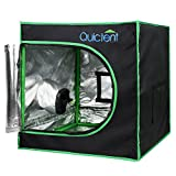 """Quictent SGS Approved Eco-friendly 24""""x24""""x24"""" Reflective Mylar Hydroponic Grow Tent with Heavy Duty Anti-burst Zipper and waterproof Floor Tray for Indoor Plant Growing 2'x2'"""