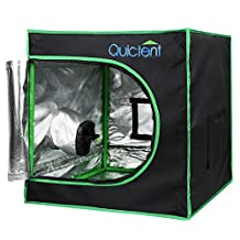 "Quictent SGS Approved Eco-friendly 24""x24""x24"" Reflective Mylar Hydroponic Grow Tent with Heavy Duty Anti-burst Zipper and waterproof Floor Tray for Indoor Plant Growing 2'x2'"