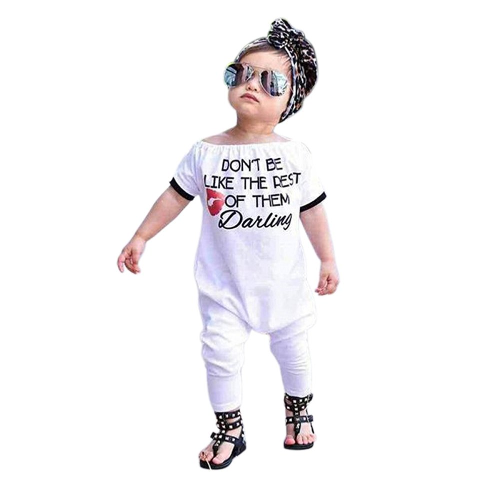 EITC Little Girls Baby White Romper Clothes Short Sleeve English Printing Long Pant Jumpsuit