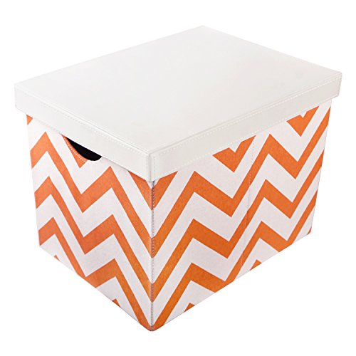 Vox Fabric Covered Rectangular Collapsible Foldable Storage Boxes Bins Organizer Cube  with Lid and Handles (Fabric Covered Box)
