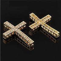 RUBYCA Cross Sideway Metal Connector Bead Crystal Inlay DIY Jewelry Shamballa Bracelet
