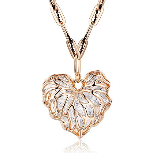 Winter's Secret Double Love Alloy Crystal Exquisite Hollow-out Heart Rose Gold Sweater (Double Manual Refrigerator)