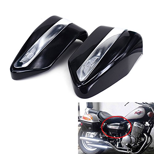 JFG RACING Black Motorcycle Battery Cover Guard Protector Two Sides Fairing One Pair For Honda CMX250 1996-2005 CMX250C 2003-2005 CA250 (Fairing Motorcycle Cover)