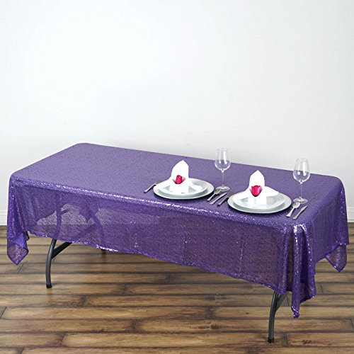 BalsaCircle 60x102-Inch Purple Rectangle Tablecloth for Wedding Party Cake Dessert Events Table Linens -
