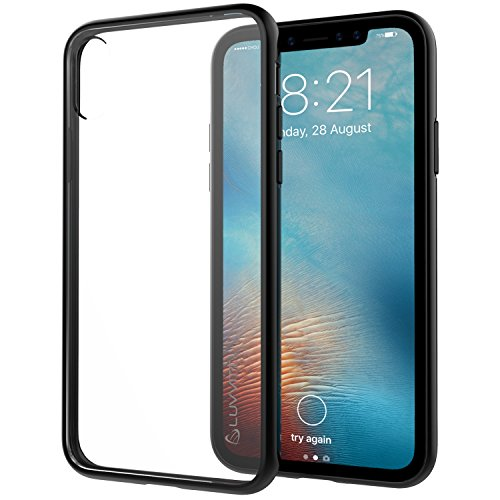 iPhone Xs Case, Luvvitt Clear View Cover with Hybrid Scratch Resistant Back Cover and Shock Absorbing Bumper for Apple iPhone X and XS with 5.8 inch Screen 2017-2018 - Black