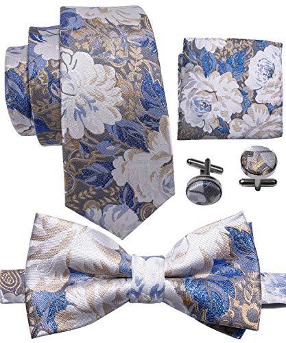 Barry.Wang Men Paisley Floral Tie Bowtie Set with Handkerchief Cufflinks Magnificent Necktie (Necktie Floral Paisley)