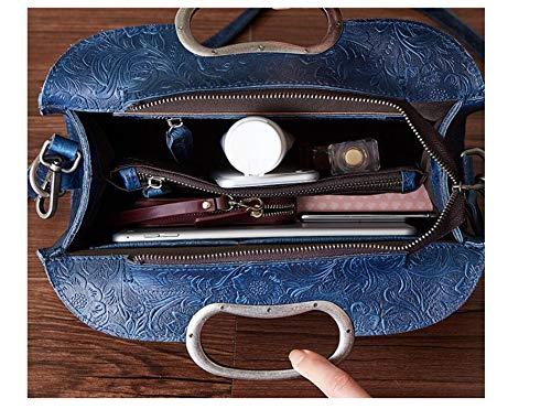 Femmes Coffee Vintage Cuir color Sac À Bandoulière En Blue Pour Jiuyizhe w0XzRz