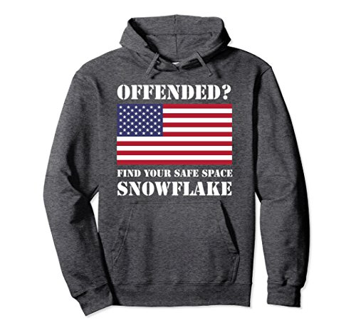 Unisex Find Your Safe Space Snowflake Hoodie - Pro Trump Sweatshirt Large Dark Heather (Hoodie Snowflake Sweatshirt)