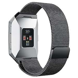 hooroor Fitbit Ionic Bands, Fully Magnetic Closure Clasp Mesh Loop Milanese Stainless Steel Ionic Band for Fitbit Ionic Smartwatch (Black Small)