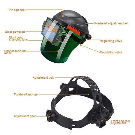 KOBWA Casco de Soldadura, Máscara de Soldadura, Casco de Soldadura de oscurecimiento automático, Amplia Gama de Tonos DIN 9-13 para ARC TIG Mig Molienda: ...
