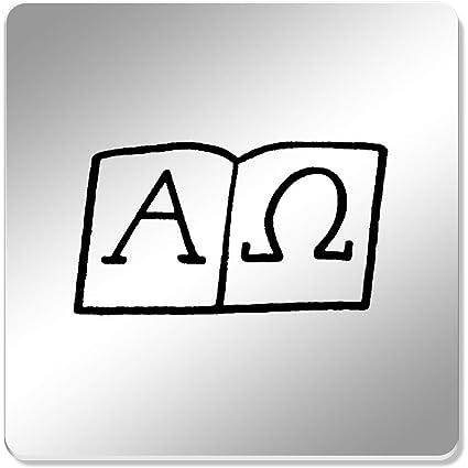 6 x Símbolos Alfa y Omega Cuadrado Espejo Posavasos ...