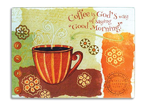 Divinity Boutique 23657 Coffee Large Cutting Board, Multicolor (Cutting Board Glass Coffee)