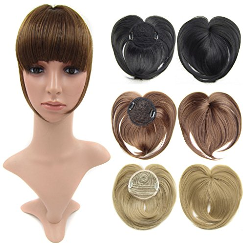 Beauty Wig World Dark Brown Synthetic Clip-in Hair Bang Full Fringe Short Straight Hair Extension