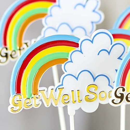 Factory Direct Craft Group of 12 Floral Embellishing Acrylic Get Well Soon Script Picks for Inserting in Real and Artificial Floral Arrangements