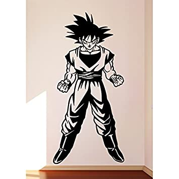 Tatouage Mural Dragon Ball Z Son Goku Vinyle Noir M Amazon Fr