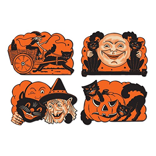 Club Pack of 48 Spooky Cat, Witch and Pumpkin Cutout Halloween Decorations 9