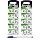 20pezzi Camelion batterie alcaline a bottone LR 1130AG101,5V + 2X penna a sfera gratis