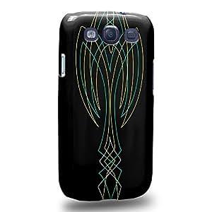 Case88 Premium Designs Art Cyan and Green Pin Stripes Carcasa/Funda dura para el Samsung Galaxy S3