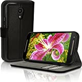 iGadgitz Premium Wallet Flip Black PU Leather Case Cover for Motorola Moto G 2nd Generation 2014 XT1068 (G2) With Card Slots + Multi-Angle Viewing stand + Magnetic Closure + Screen Protector