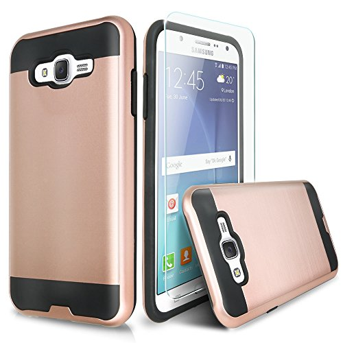 Galaxy On5 Case With TJS® Tempered Glass Screen Protector Included, Dual Layer Shockproof Hybrid Armor Drop Protection Metallic Brushed Finish Case Cover For Samsung Galaxy On5/G550 (Rose Gold)
