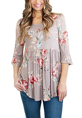 iGENJUN Women's Scoop Neck 3/4 Ruffle Detailed Sleeve Floral Tops Blouse,DG-4,L - Neck Tunic Blouse
