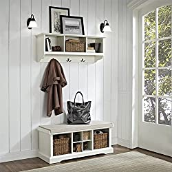 Crosley Brennan 2 Piece Entryway Bench and Shelf Set, White