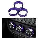 MOEBULB Aluminum Interior Air Conditioner Conditioning Switch Cover Trim Ring for 2011 - 2016 Jeep Wrangler JK JKU Compass Patriot (Purple)
