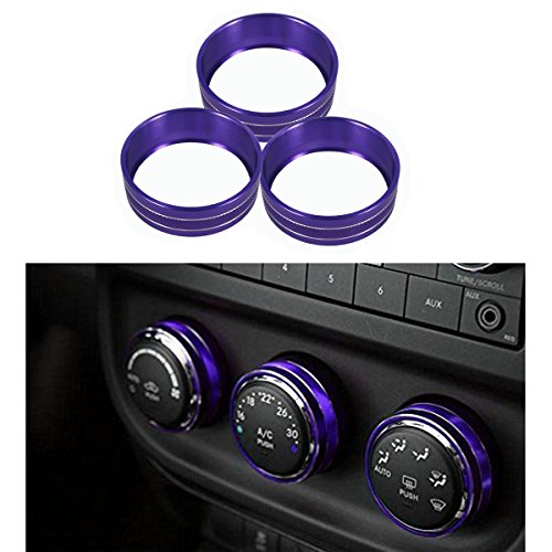 MOEBULB Interior Audio Air Conditioning Twist Switch Trim Cover Control Button Ring 3-pack for 2011-2018 Jeep Wrangler JK JKU Compass Patriot 2008-2014 Dodge ram challenger (Purple) ()