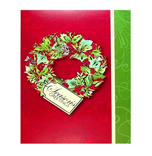 SEASON'S GREETINGS WREATH BOXED HOLIDAY CARDS, SET OF 12