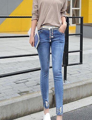 TT&NIUZAIKU Damen Einfach Mittlere Hüfthöhe Mikro-elastisch Jeans Hose, Polyester Frühling Solide, Blau, 29