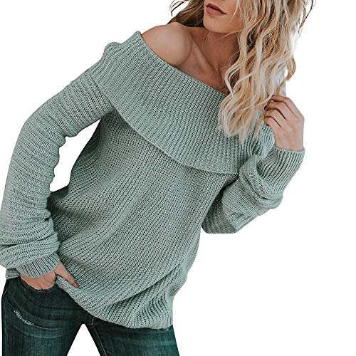 Aniywn Women's Off Shoulders Pullover Sweater Knit Long Sleeve Loose Solid Color Jumper Tunic Tops Blue